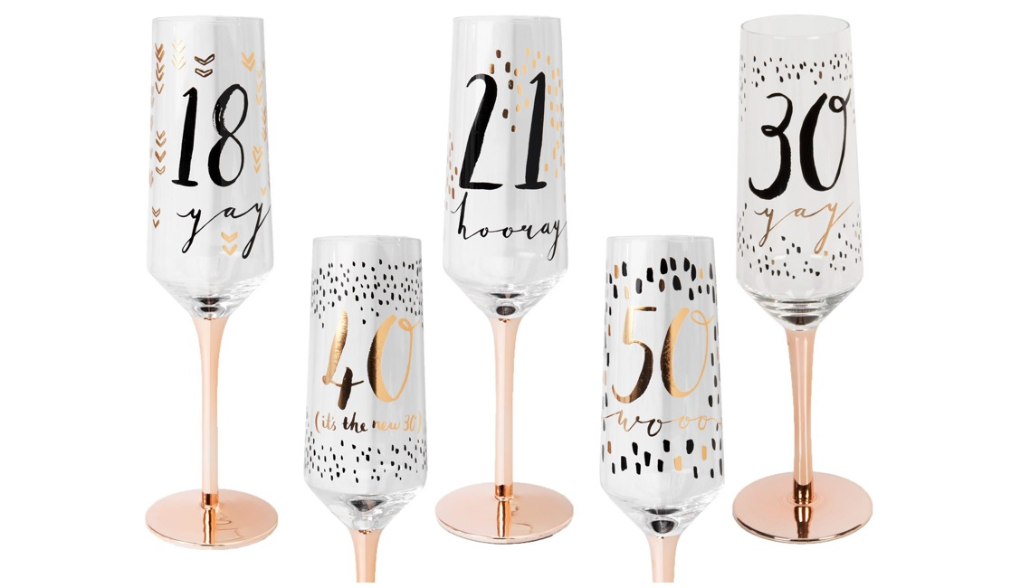 Birthday Age Champagne flutes