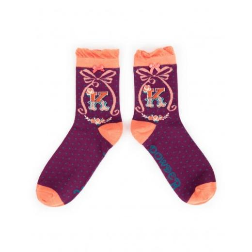 Powder Ladies Short Bamboo Socks Alphabet Letter