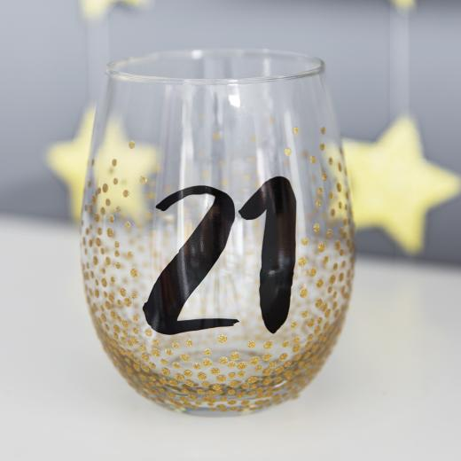 2cee72a929c Stemless Wine Glass  Birthday Age Glitter Dots 21 - Gold - £12.00 - Age 21  Birthday Gifts - MILESTONE Birthday Gifts   Cards - Antique Rose Boutique