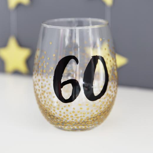 Stemless Wine Glass Birthday Age Glitter Dots 60
